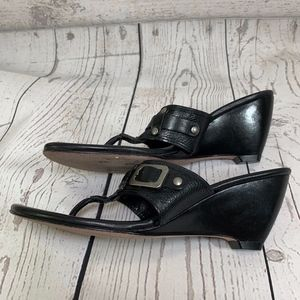 Cole Haan Black Leather Thong Wedge Buckle Sandals